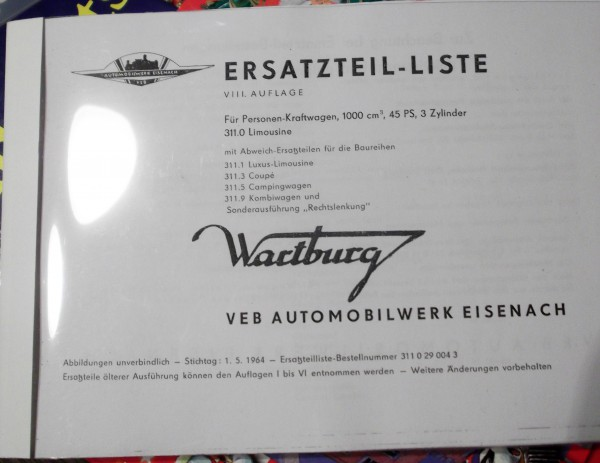 Ersatzteilkatalog Wartburg 311